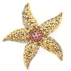 Modern Ruby Diamond Gold Star Fish Brooch