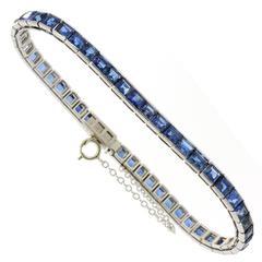1970s Sapphire Gold Straight Line Bracelet