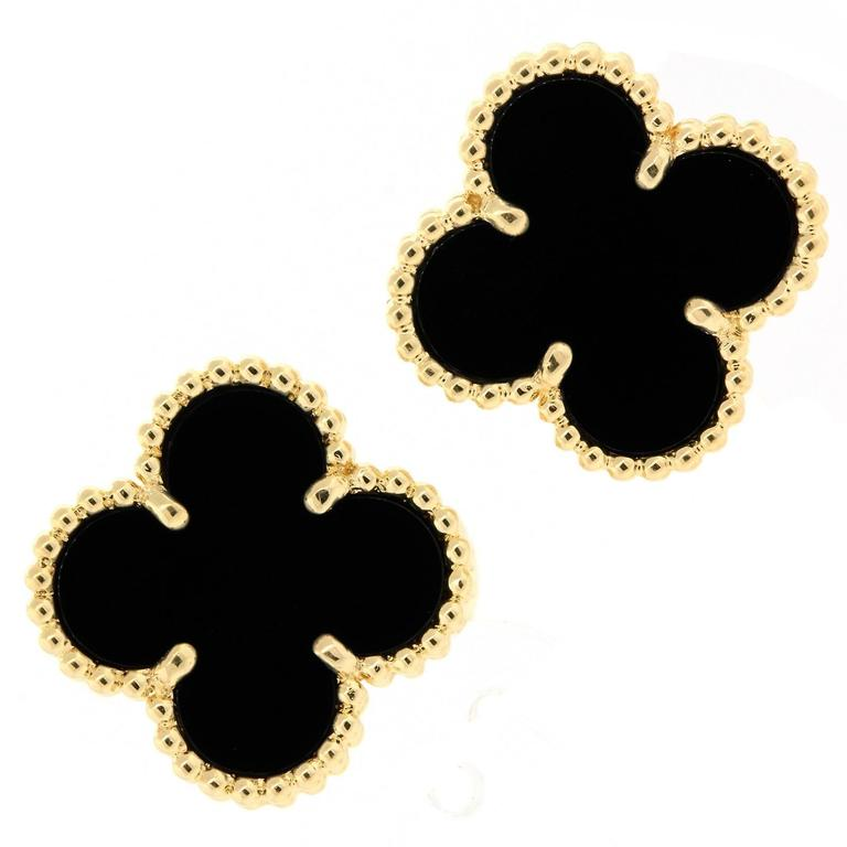 Van Cleaf & Arpels Vintage Onyx Gold Alhambra Earrings For Sale