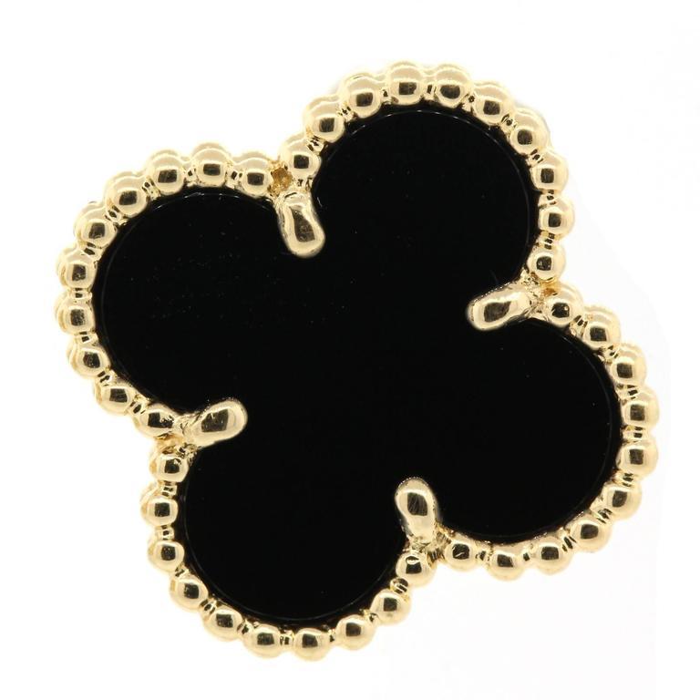 Van Cleaf & Arpels Vintage Onyx Gold Alhambra Earrings 3