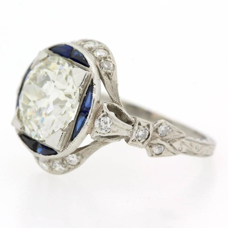 Women's or Men's Art Deco Old Cut Diamond Sapphire And Platinum Ring For Sale