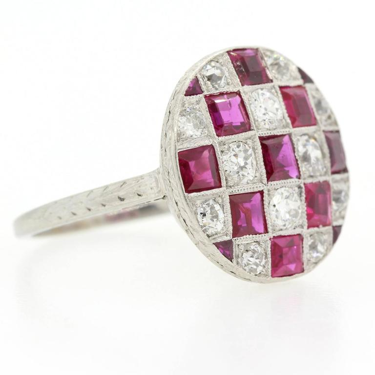 1920s Diamond Ruby Platinum Ring In Excellent Condition For Sale In Beverly Hills, CA