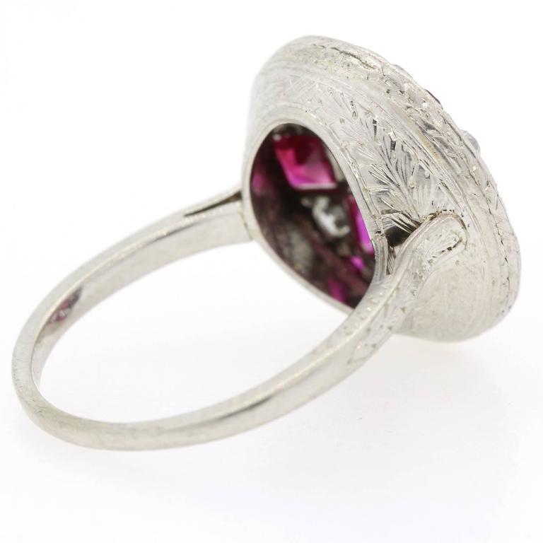 Women's 1920s Diamond Ruby Platinum Ring For Sale