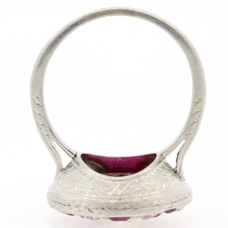 1920s Diamond Ruby Platinum Ring For Sale 1