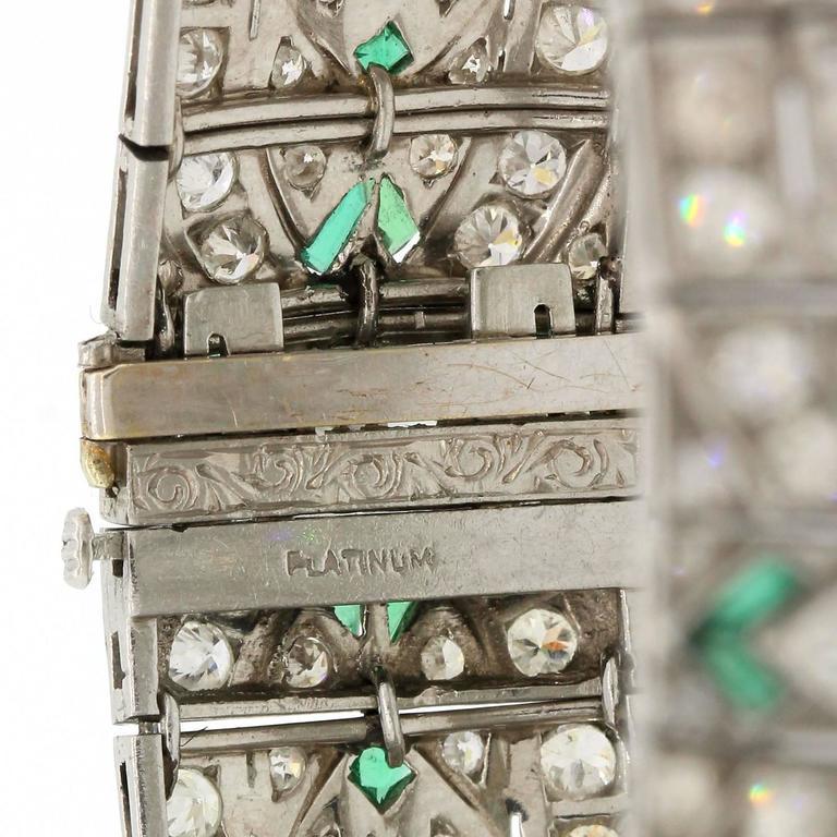Women's Art Deco Diamond Emerald Platinum Bracelet For Sale