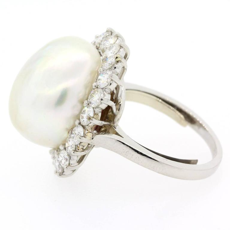 Contemporary 1970s South Sea Pearl Diamond Platinum Ring For Sale