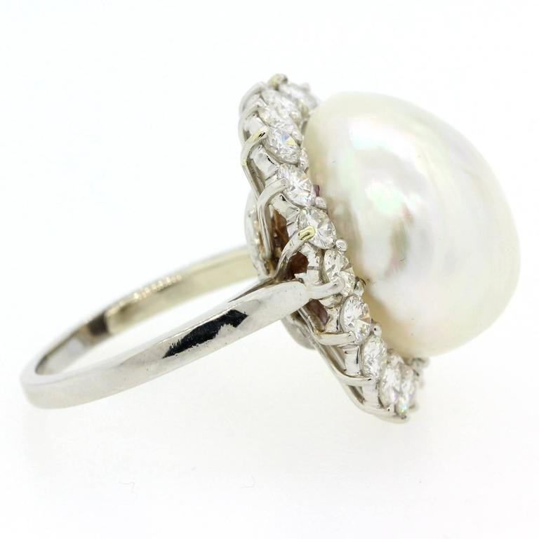 Women's 1970s South Sea Pearl Diamond Platinum Ring For Sale
