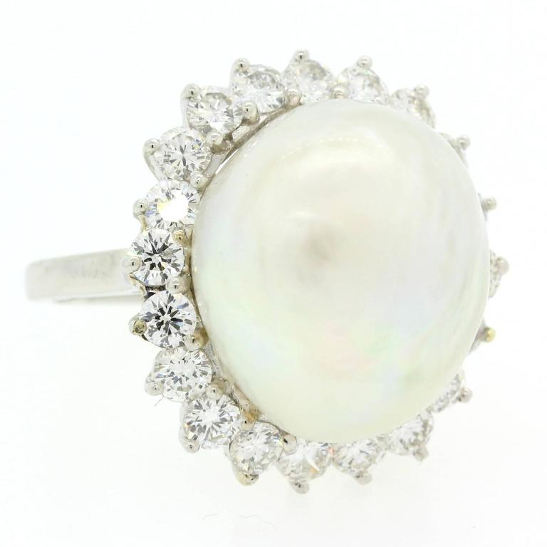 1970s South Sea Pearl Diamond Platinum Ring For Sale 1