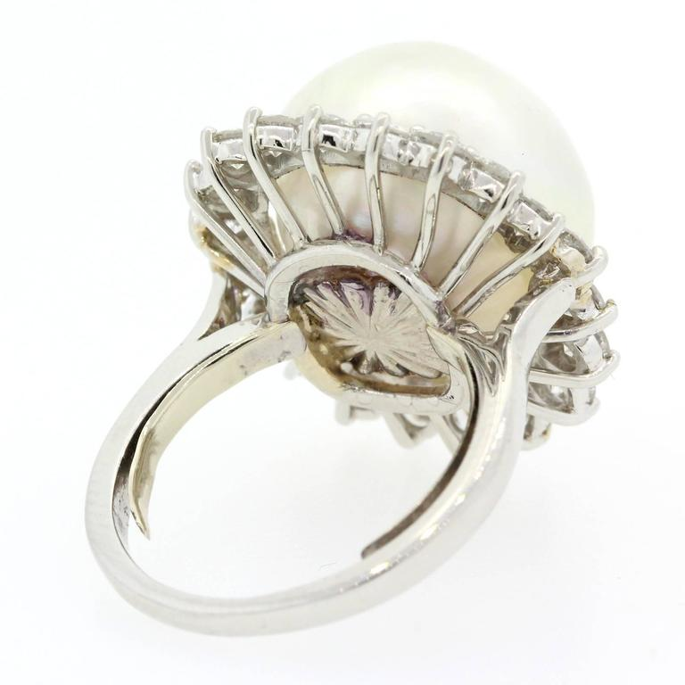 1970s South Sea Pearl Diamond Platinum Ring For Sale 2