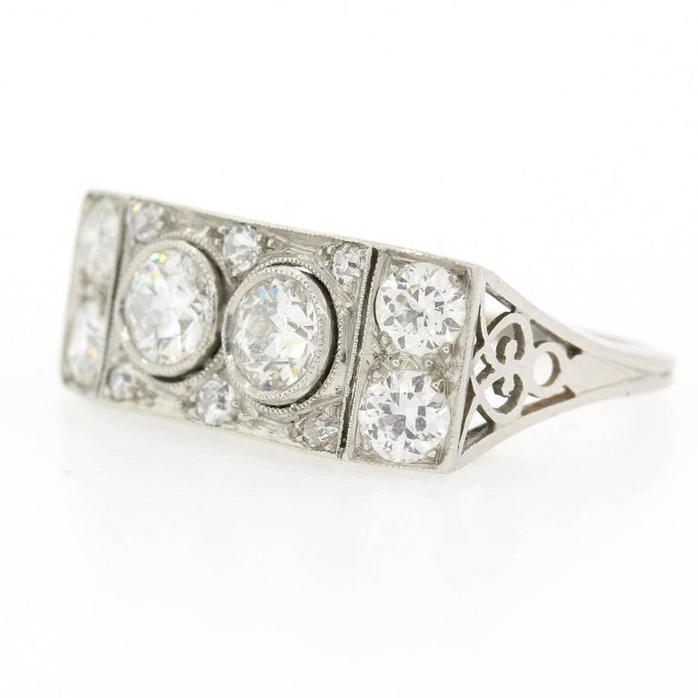 Old European Cut Art Deco Two-Stone Diamond Platinum Ring For Sale