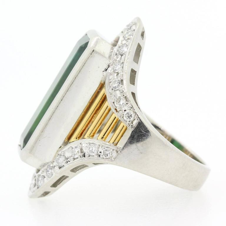 Tourmaline Diamond Platinum and Gold Ring In As New Condition For Sale In Beverly Hills, CA