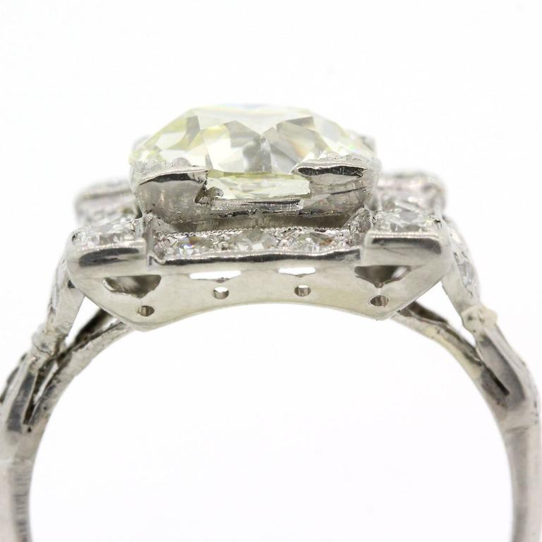 Art Deco Old European Cut Diamond Platinum Ring In Excellent Condition For Sale In Beverly Hills, CA