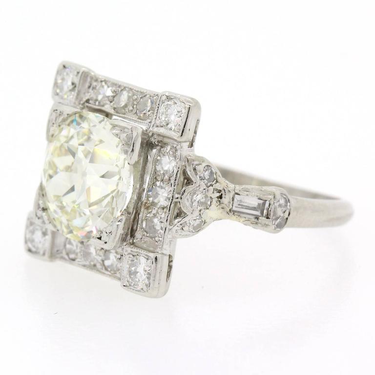 Women's or Men's Art Deco Old European Cut Diamond Platinum Ring For Sale