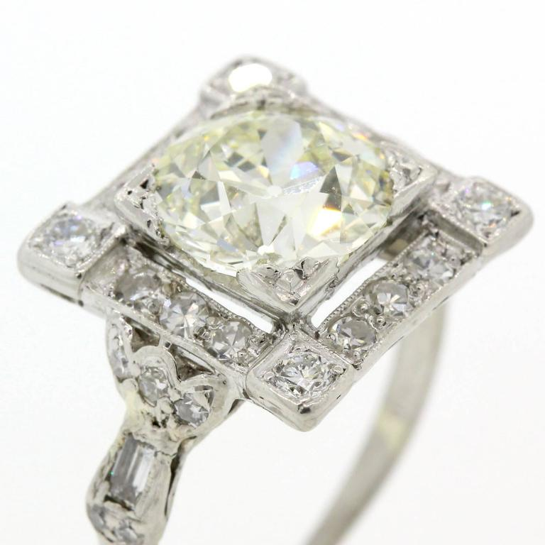 Art Deco Old European Cut Diamond Platinum Ring For Sale 1