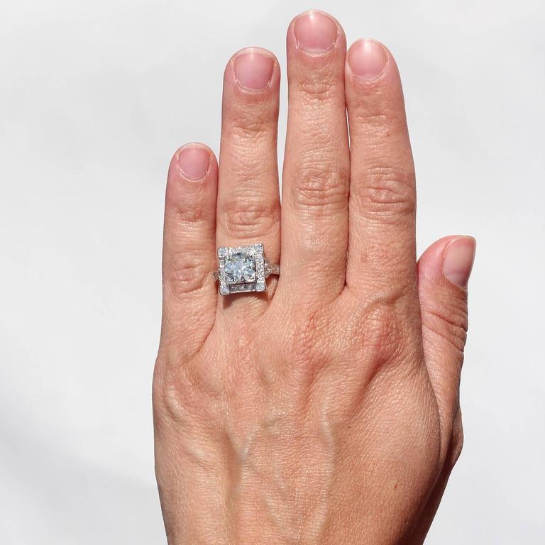 Art Deco Old European Cut Diamond Platinum Ring For Sale 2