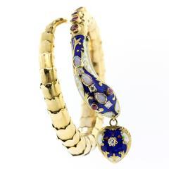 1960s Enamel Gold Snake Bracelet