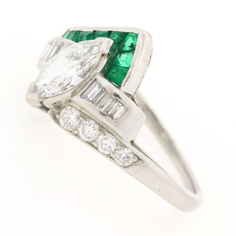 Vintage Marquise Diamond Emerald Ring In Excellent Condition For Sale In Beverly Hills, CA