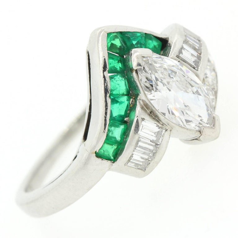Women's Vintage Marquise Diamond Emerald Ring For Sale