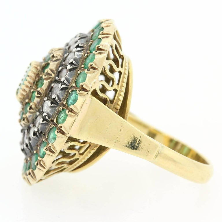 Modern Vintage Emerald Old Cut Diamond Gold Ring For Sale