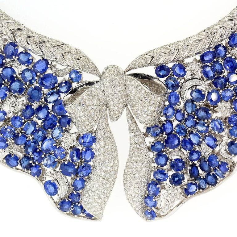 Sapphire Diamond Gold Necklace 4