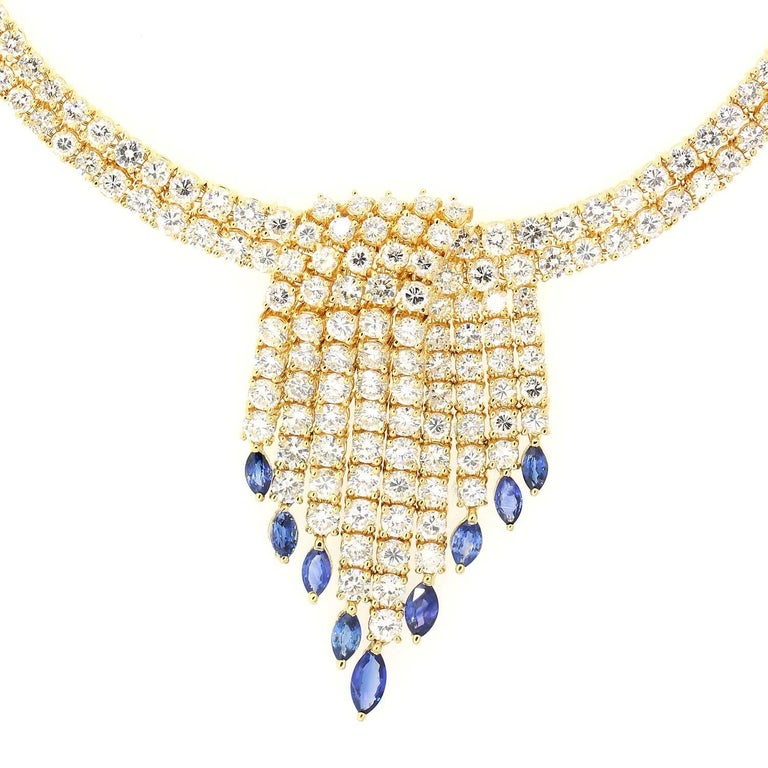 Diamond Sapphires Gold Necklace In As New Condition For Sale In Beverly Hills, CA