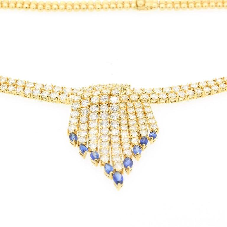 Women's Diamond Sapphires Gold Necklace For Sale