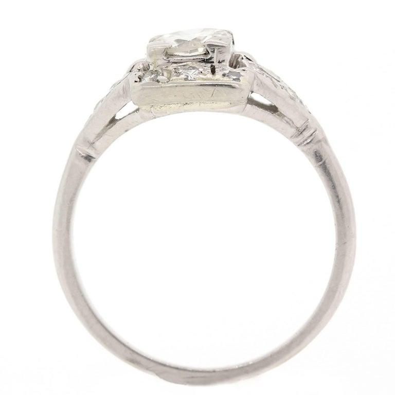 Art Deco 1930s Diamond Platinum Engagement Ring For Sale