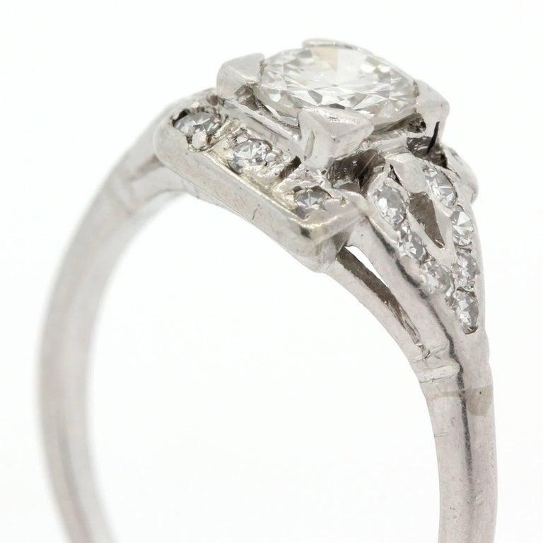 Women's 1930s Diamond Platinum Engagement Ring For Sale