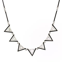 Triangle Cut Diamond Platinum Necklace
