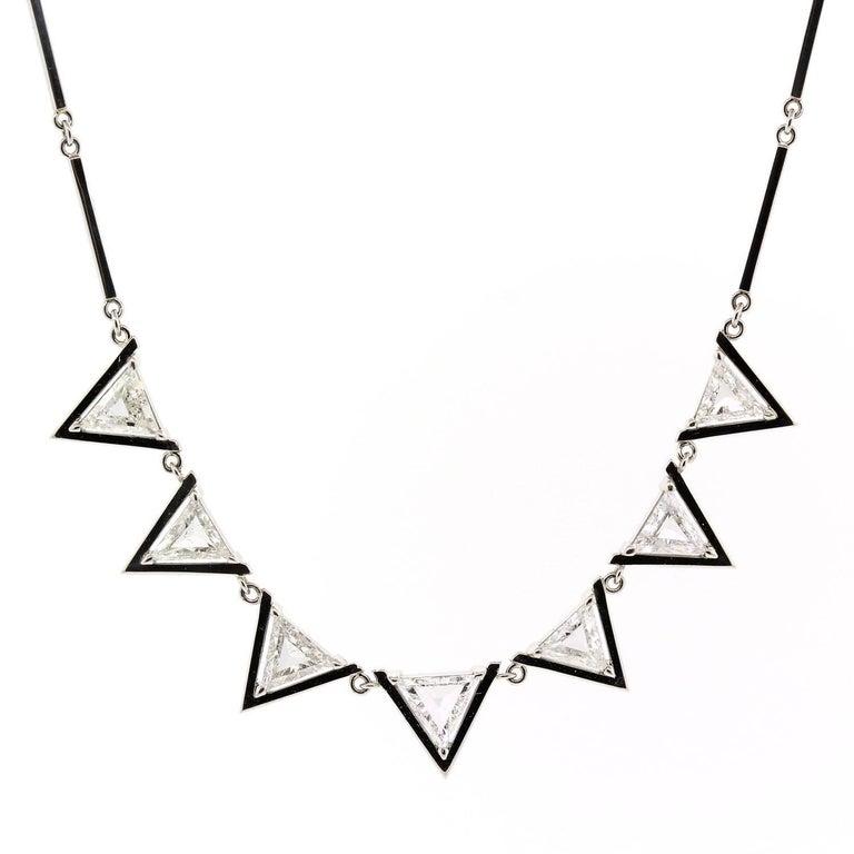 Triangle Cut Diamond Platinum Necklace For Sale