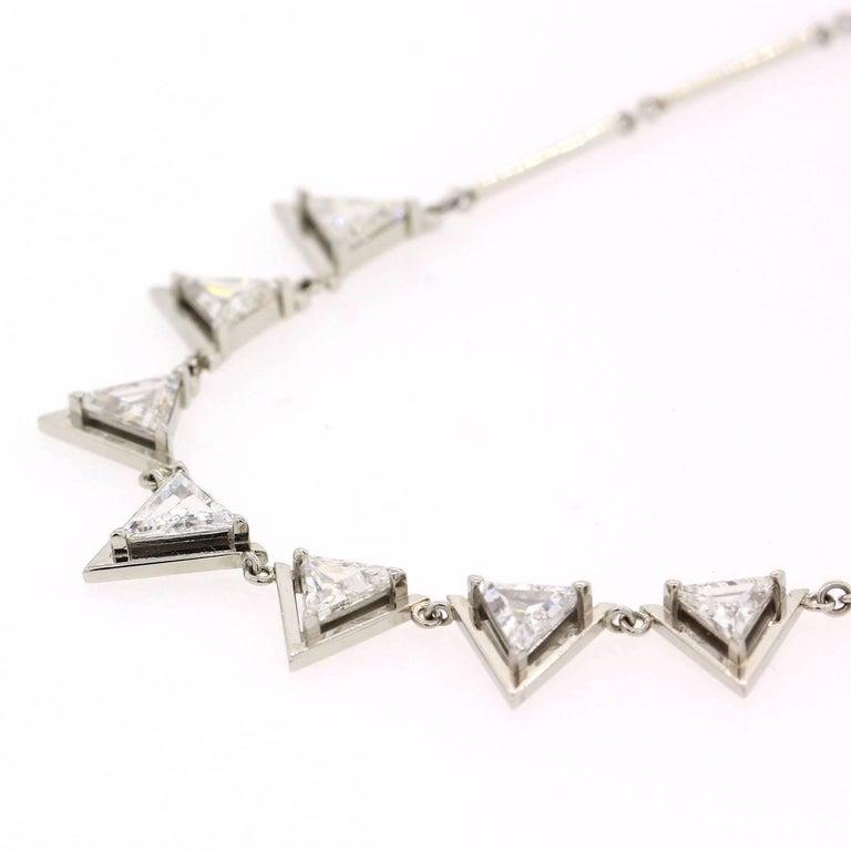 Modern Triangle Cut Diamond Platinum Necklace For Sale