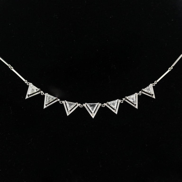 Triangle Cut Diamond Platinum Necklace In New Condition For Sale In Beverly Hills, CA