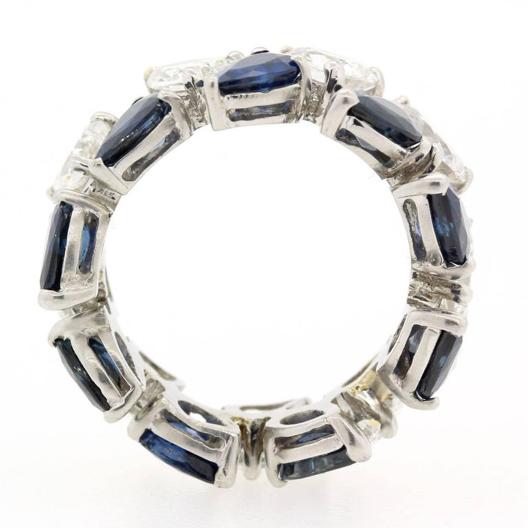 Modern Vintage Diamond Sapphire Eternity Band For Sale