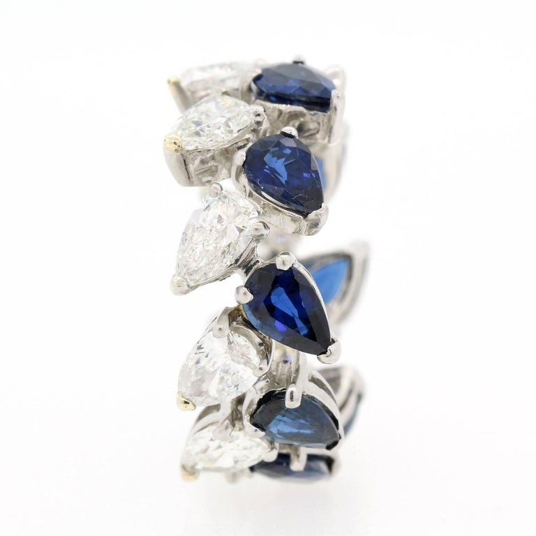 Vintage Diamond Sapphire Eternity Band In Excellent Condition For Sale In Beverly Hills, CA