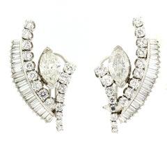 Vintage Diamond Platinum Earrings