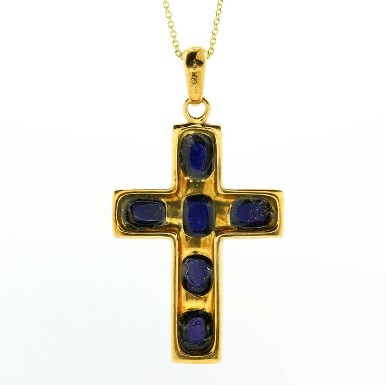 Vintage Lapis Lazuli Gold Cross In Excellent Condition For Sale In Beverly Hills, CA