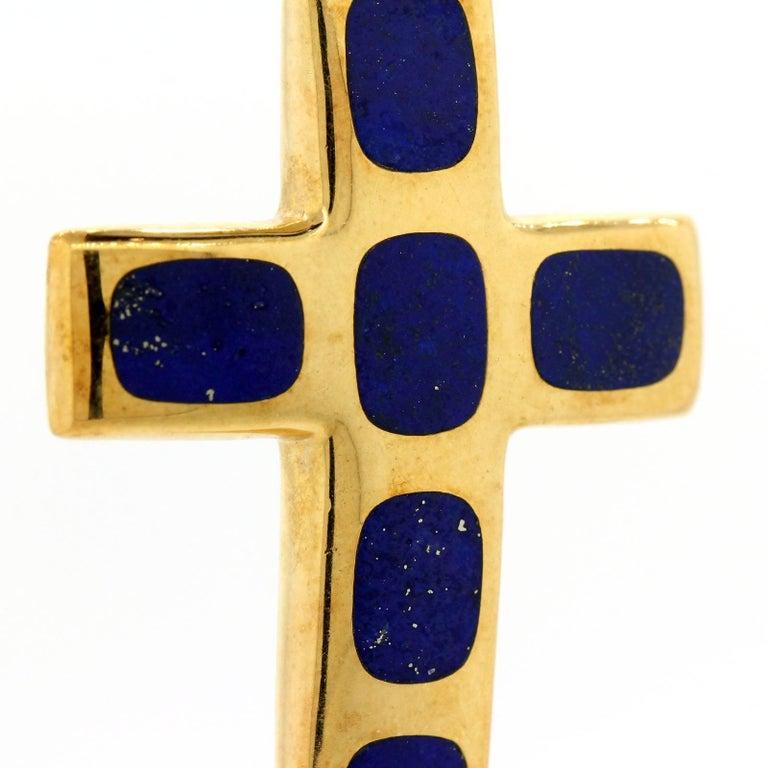 Modernist Vintage Lapis Lazuli Gold Cross For Sale