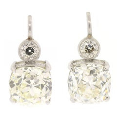 Old Cushion Cut Diamonds and Platinum Earrings