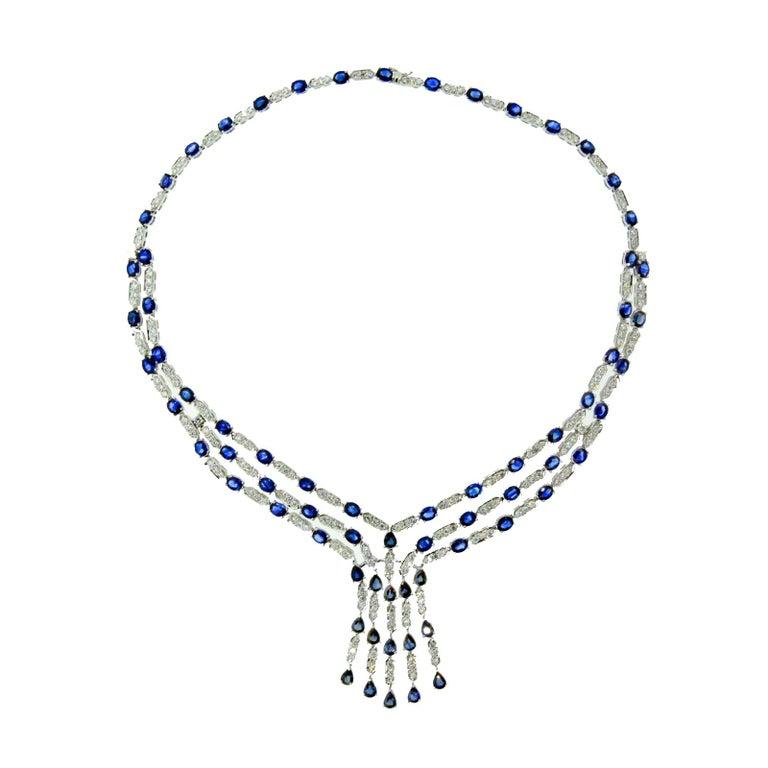 Blue Sapphire Diamond Gold Necklace