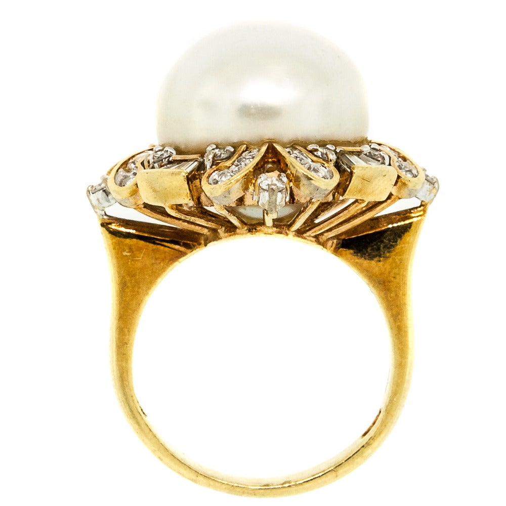south sea pearl gold cocktail ring at 1stdibs