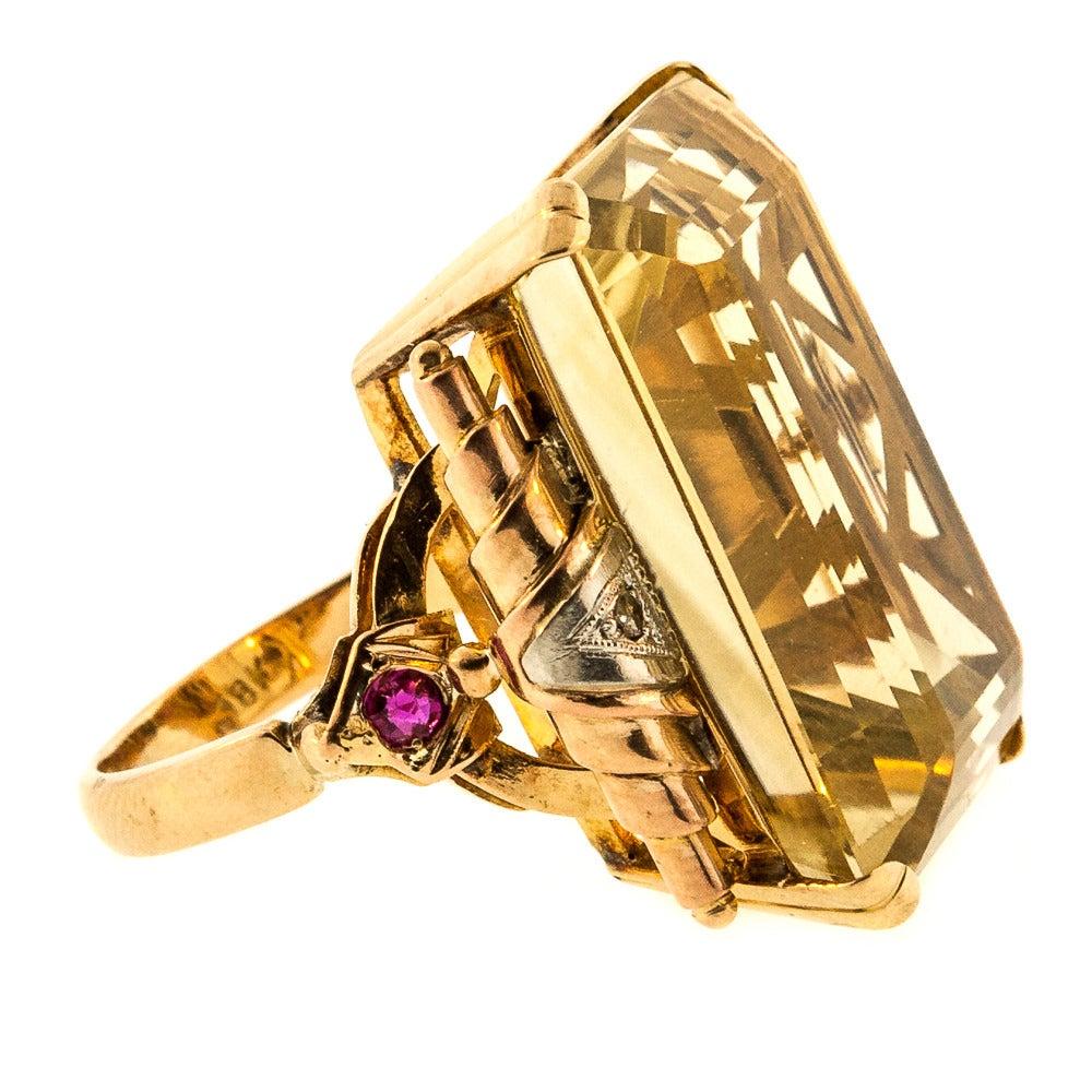 retro emerald cut citrine quartz gold ring at 1stdibs
