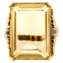 Retro Emerald Cut Citrine Quartz Gold Ring