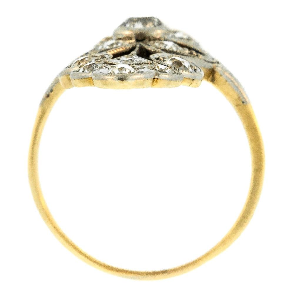 south filigree gold platinum cocktail ring
