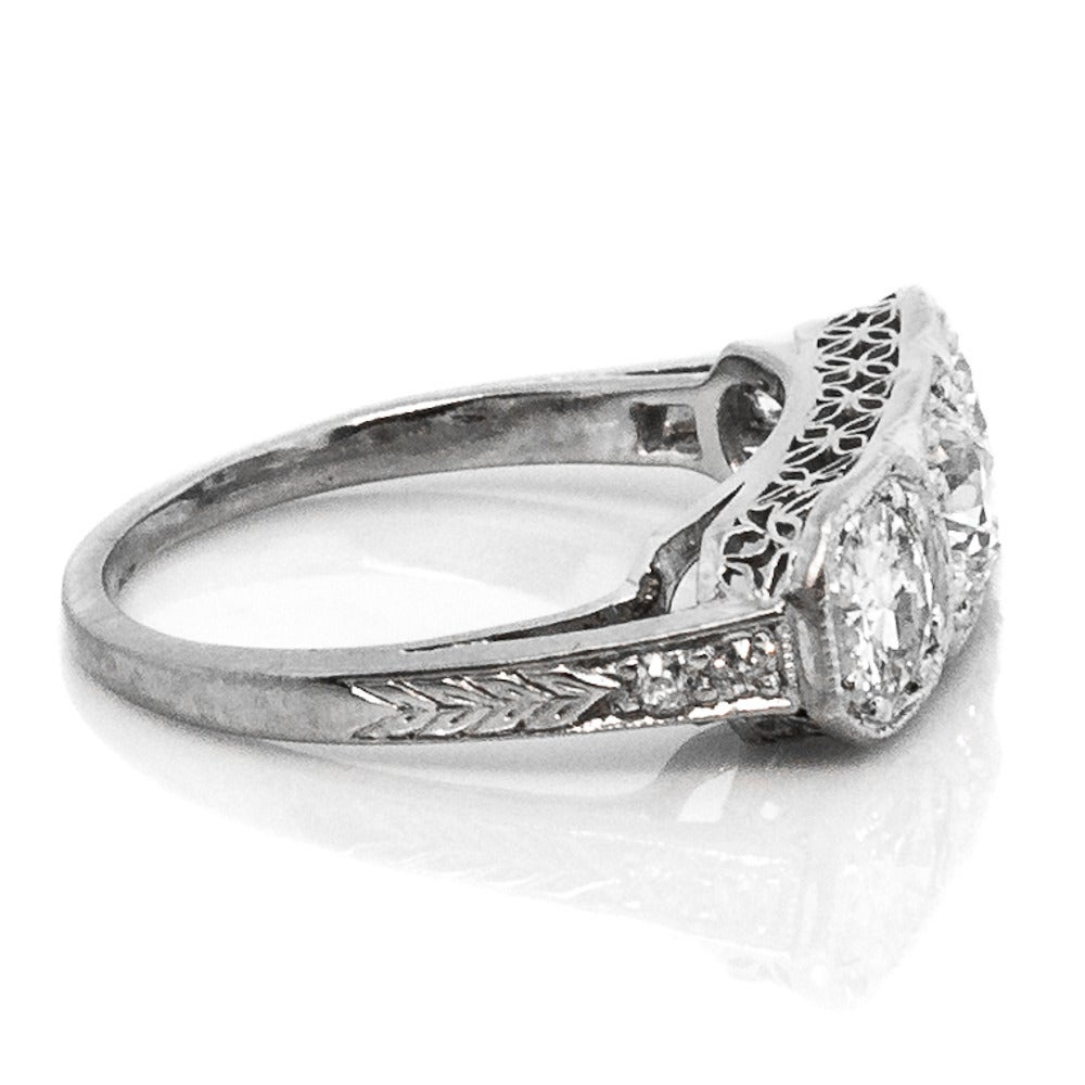 1930s Art Deco Three Stone Diamond Platinum Engagement ...