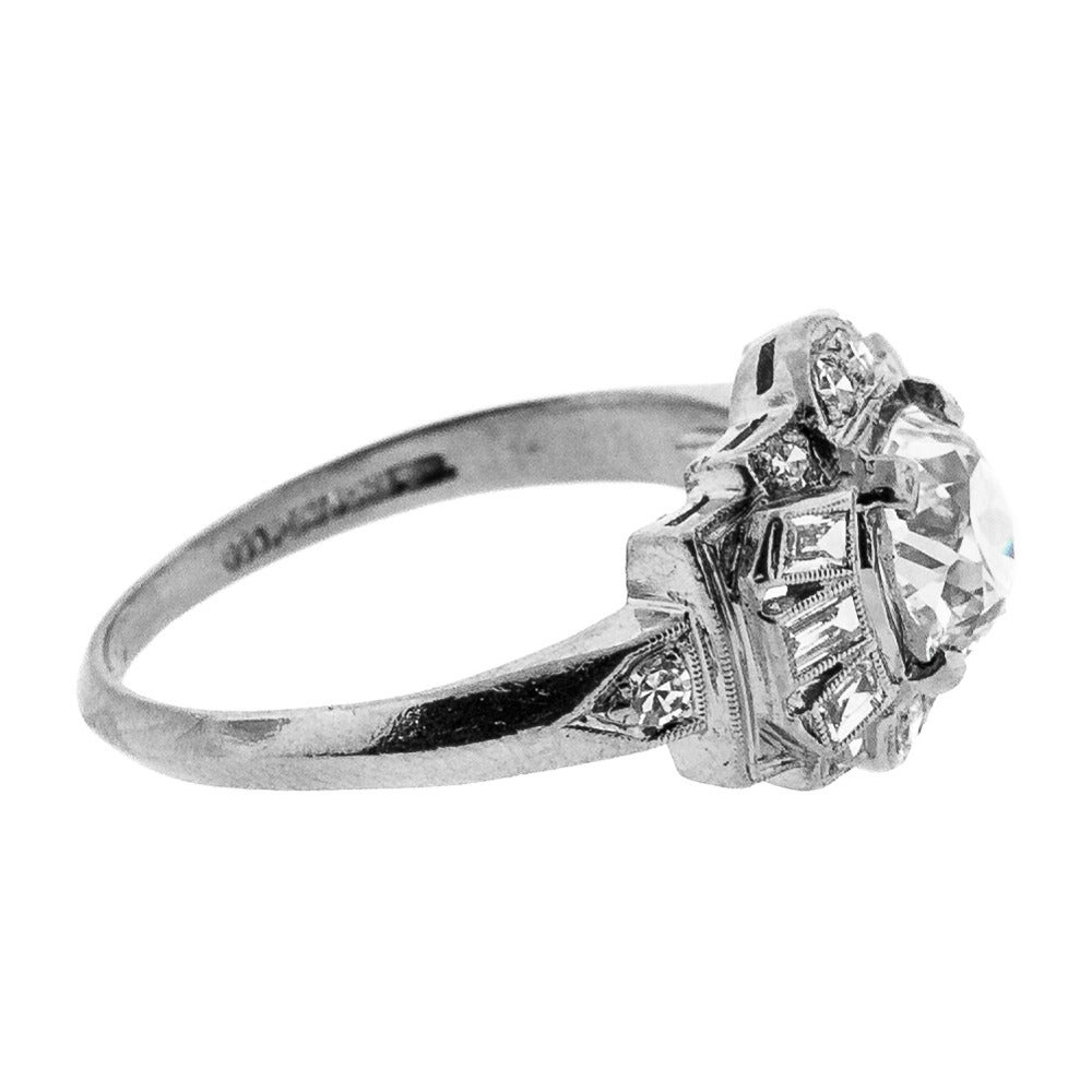 Art Deco Cushion Cut Diamond Engagement Ring 2