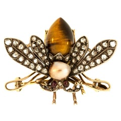 French Antique Tiger Eye Natural Pearl Diamond Gold Fly Brooch