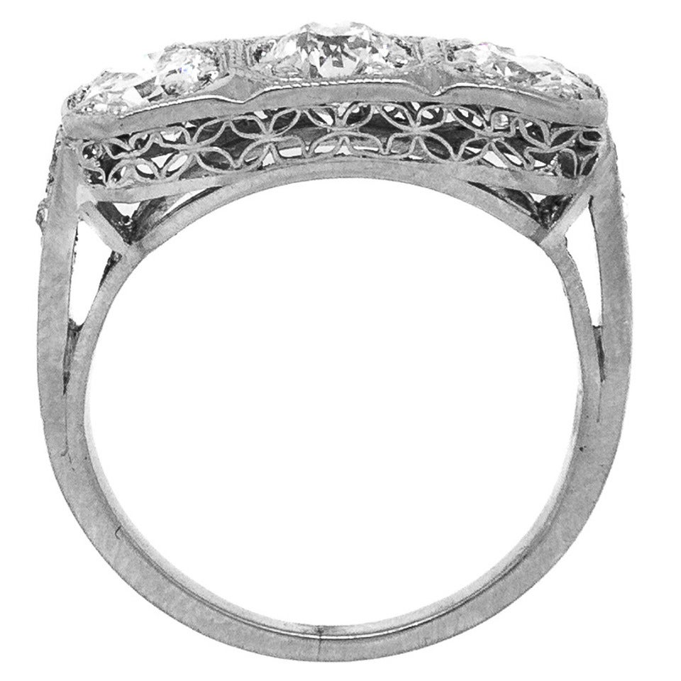 1930s Art Deco Three Stone Diamond Platinum Engagement Ring 1