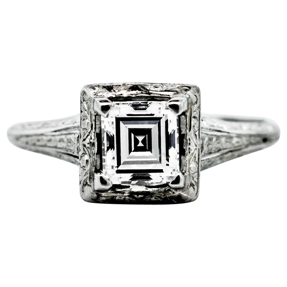 1930s Art Deco Rectangular Cut Diamond Platinum Solitaire Ring 1