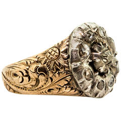 Early 1800s Georgian Rose Cut Diamond Silver Engraved Gold Cluster Ring