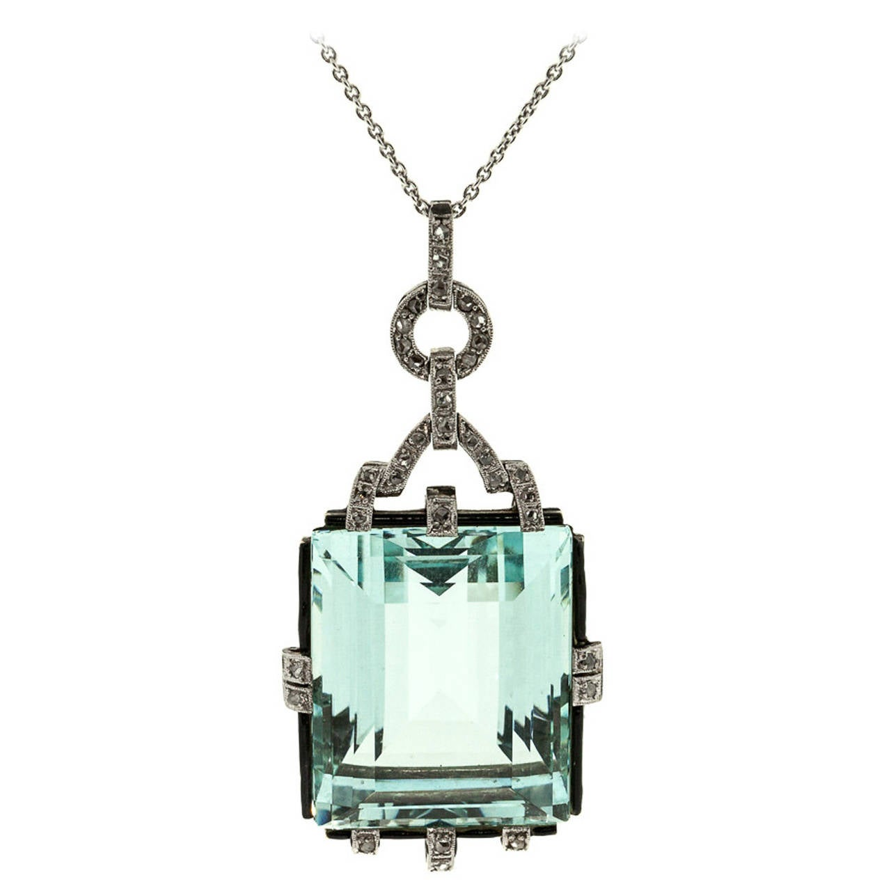 1940s Aquamarine Diamond Platinum Pendant For Sale